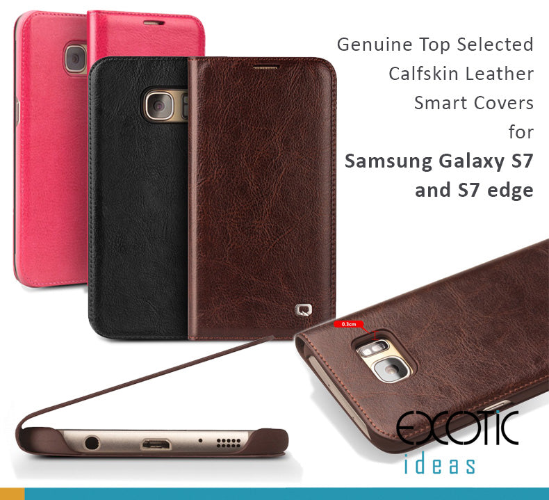 Genuine Top Selected Calfskin Leather Smart Covers for Samsung Galaxy S7 and S7 edge.