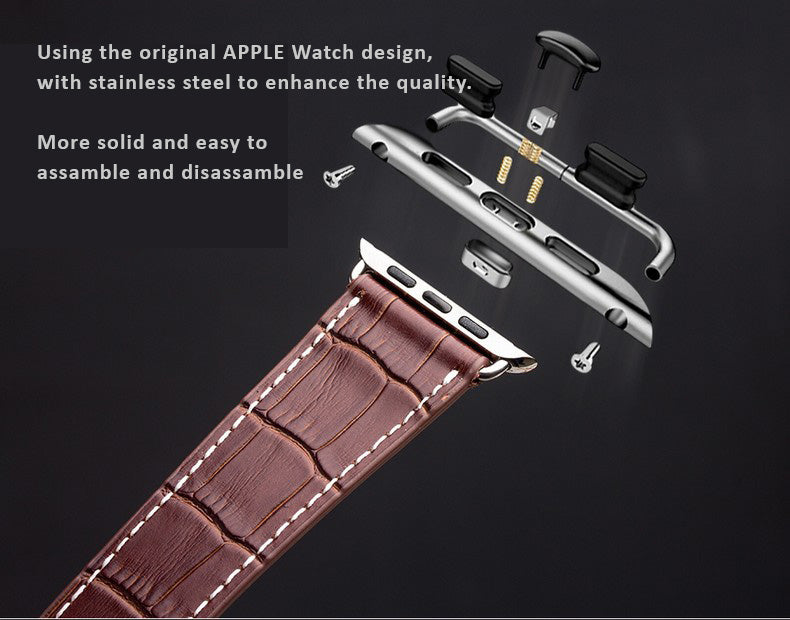 Genuine Selected Cowhide Apple Watch Band - 38 / 42mm, 2 Styles in a Set - Single and Double Loop - Crocodile Skin Textured.