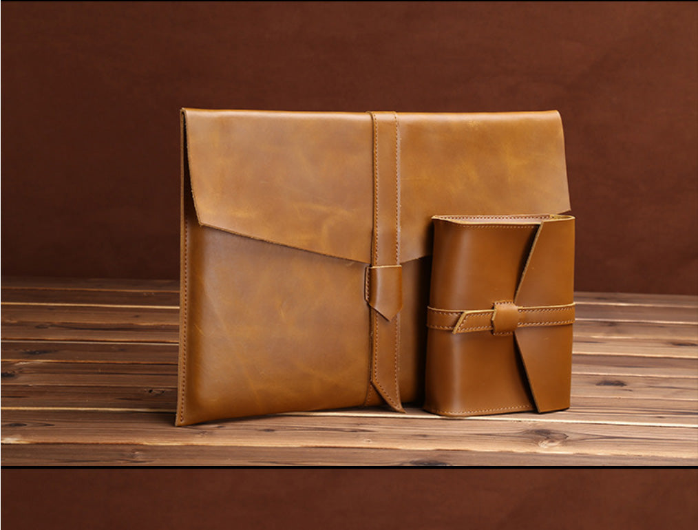 "Genuine Leather Envelope Sleeve for MacBook Air, Pro, Retina 11.6"",12"",13.3"",15.4""- Landscape"