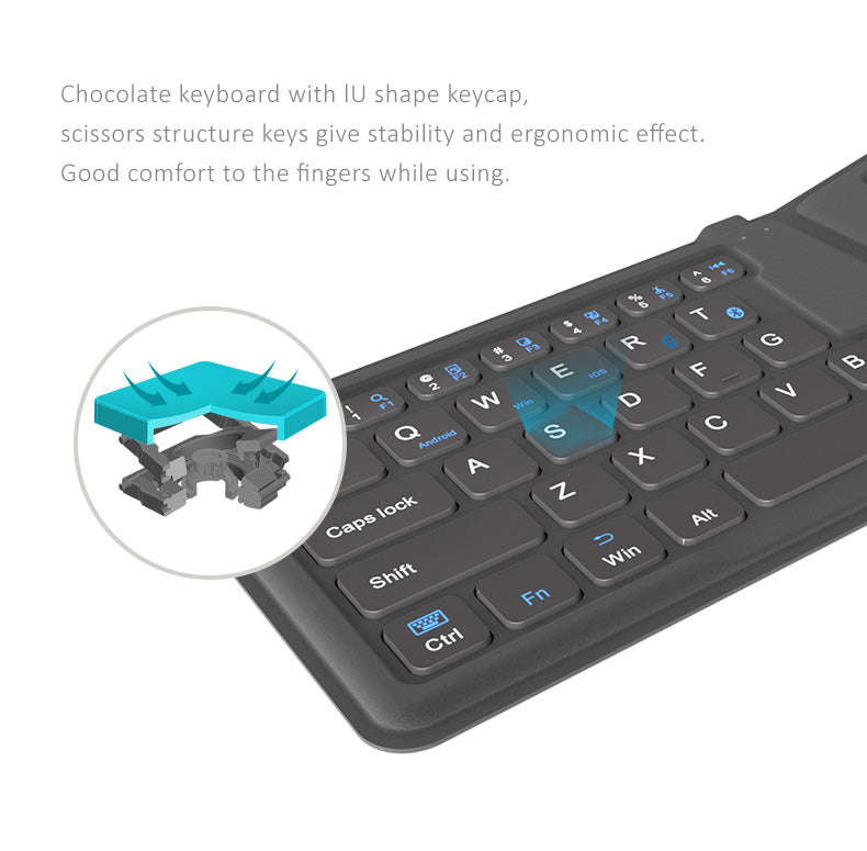 Ultrathin light portable foldable pocket Bluetooth keyboard, Ergonomic design, Stylish leather case