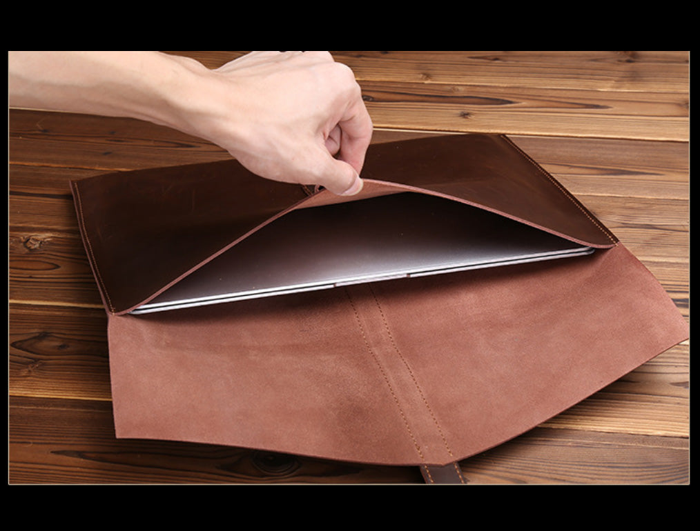 "Genuine Leather Envelope Sleeve for MacBook Air, Pro, Retina 11.6"",12"",13.3"",15.4""- Portrait - Free gift - Sleeve for cables and mouse"