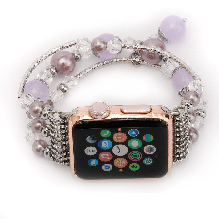 Jewellery Agate Beads + Stainless Steel Bracelet Watch Band for Apple Watch 5,4,3,2,1 38, 40, 42, 44mm -  Purple Version