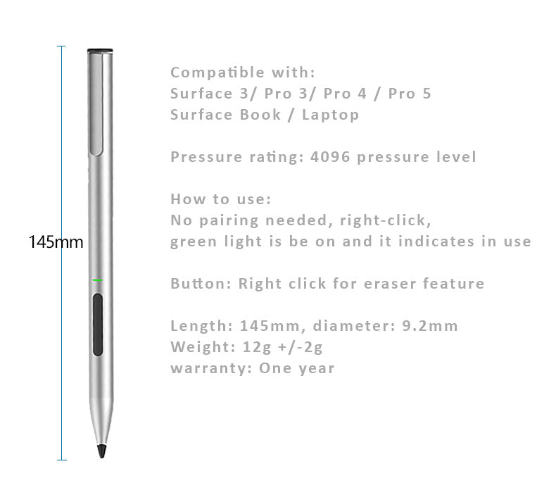 4096 pressure level stylus pen for painting, drawing, writing. Exclusive design for Microsoft Surface 3/ Pro 3/ Pro 4 / Pro 5 Surface Book / Laptop