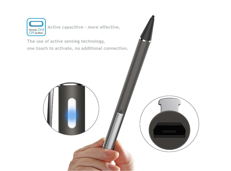 1.8mm ultra-fine high precision sensitivities active capacitive stylus pen for drawing,writing. iPhone, iPad, Samsung, Surface...etc. 99% Tablets compatible.