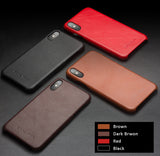 Genuine Selected Cowhide Calfskin Leather Protective Cases Exclusive Design for iPhone X/XR/XS/XS Max, Free Gift -Tempered Glass Film