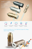 Car Charger + Dual Ports - Lightning USB Cables with Mini USB port for iPhone, iPad, Android Phones and Tablets, ABS+TPE+Copper contact head for high performance,stability and safety.