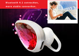 Big crystal embedded dual pairing Bluetooth HD sound headset with soft silicone earbud
