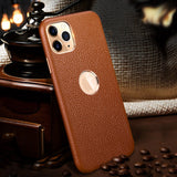 Genuine Selected Cowhide Calfskin Leather Protective Cases Exclusive Design for iPhone 12, Mini, Pro and Pro Max, Free Gift -Tempered Glass Film