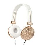Stereo headphones  with champagne crystal set with soft leather pads, bass enhanced- Trendy color to brighten up your days.