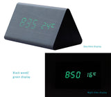 Wooden Clock with LED Display, 3 Sets of Alarms, Time, Temperature, Sound Control.
