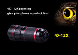 4X-12X Zoom Phone Telephoto Camera Lens Telescope bundled with tripod +univeral clip for smartphone. Fits to iPhone 8/7/6, 8/7/6 Plus, iPhone X, Samsung Galaxy, Vivo, Xiaomi, OnePlus, Huawei, Oppo.. etc