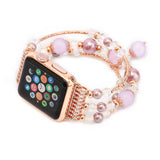 Agate Beads + Stainless Steel Bracelet Jewellery Watch Band for Apple Watch 1 & 2 - Rose + Rose Gold Version