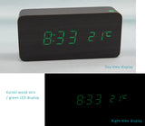 Wooden Clock with LED Display, 3 Sets of Alarms, Time, Date, Temperature, Sound Control.
