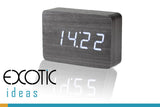 Kuroki Wood Clock with White LED Display, 3 Sets of Alarms, Time, Date, Temperature, Sound Control