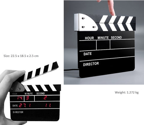 Movie Slate Clapper Board LED Digital Desk Clock with Calendar, Alarm, Small Version: 8.8*10.5*2CM