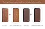 Ultrathin Light Genuine Calfskin Leather Cases with Flip Cover for iPhone 8/7, 8/7 Plus
