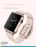 Genuine Leather Watch Band for Apple Watch 38mm, 42mm. Loop Strap Stainless Magnetic Buckle - Pink