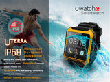 U Terra - Bluetooth Sports Smart Watch with IPS HD touch screen, IP68 waterproof, shockproof. Comprehensive features - Time, Pedometer, Hands-free calls, Mobile Sync, Music Player, Compass, Instant Messagers