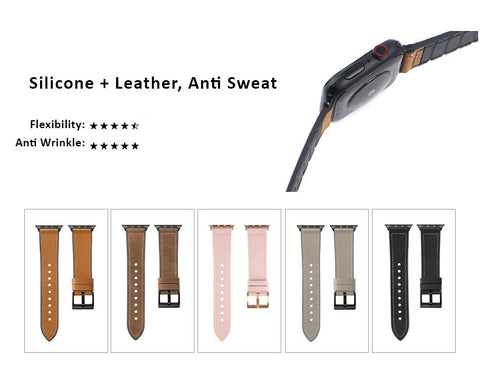 Genuine Leather Watch Bands For Apple Watch Generation 6,5,4,3,2,1, 38, 40, 42, 44 mm -  Sillicone Antii Sweet