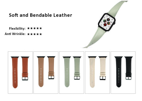 Genuine Leather Watch Bands For Apple Watch Generation 6,5,4,3,2,1, 38, 40, 42, 44 mm -  Soft and Bendable