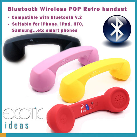 Bluetooth Wireless POP Retro Handset for iPhone iPad HTC Samsung, Nokia, Blackberry... Smart Phones