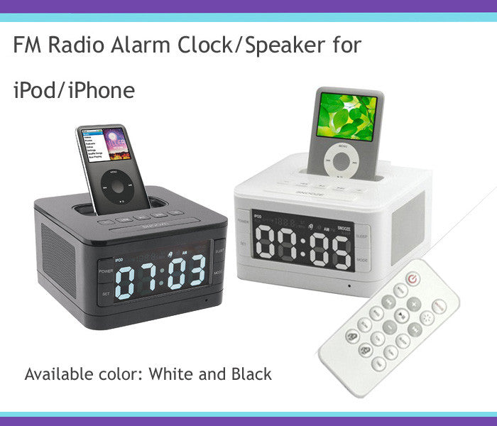 LCD FM Radio Alarm Clock/Speaker, Docks for iPod/iPhone