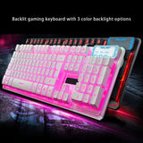 Backlit Gaming Keyboard with 3 cool backlight colors- adjustable birghtness and ergonomic suspension design for long time using without harming