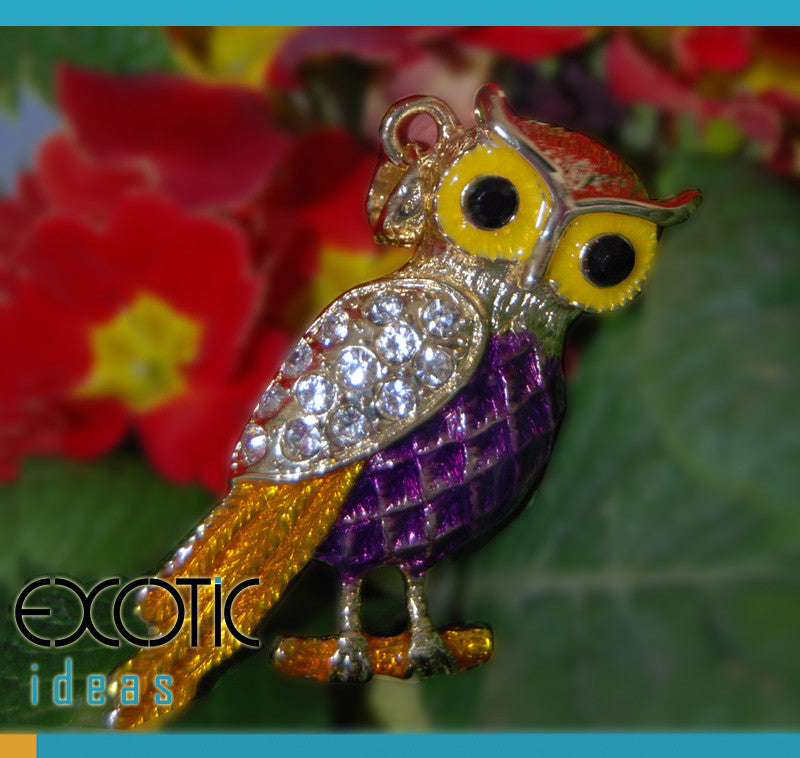 32GB USB Flash Memory Stick, Owl Shape with Enamel and Gold Coating