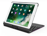 "360 ° Rotatable Bluetooth keyboard with aluminum alloy case, 7 color backlight Backlit feature. For 2018 new iPad Pro 9.7"", iPad air2, iPad Air 1"