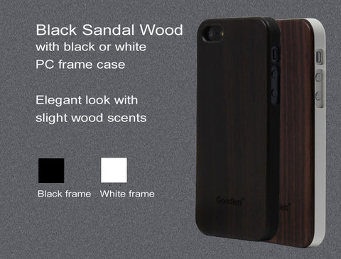 Wooden iPhone 5, 5S Case Skin - Black Sandalwood + PC Frame - Wear resistance, No cracking.