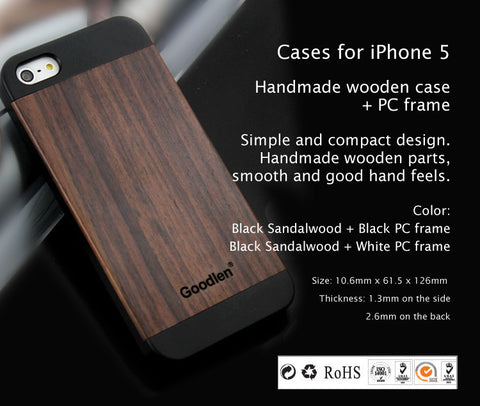 Wooden Case Skin for iPhone 5, 5S  - Black Sandalwood + PC Frame, Wear resistance, Anti-cracking
