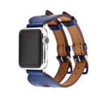 Top selected cowhide leather watch band with double buckle tour design for Apple Watch  Series 6,5,4,3,2,1, 38, 40,42,44mm
