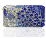 Fine Crystal Rhinestone 3D Apple iPhone 5, 5S, 5C / 4S / 4 Skin Case Cover - Peacock - Blue Peacock  with Silver Crystal