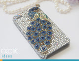 3D Fine Crystal Rhinestone Apple iPhone 5, 5S, 5C Skin Case Cover - Blue Crystal Peacock  with Clear Crystal Base