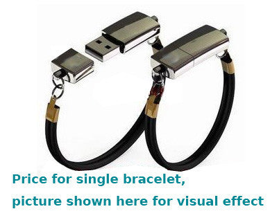 8GB, USB Flash Memory Drive, Black Lady - Leather Bracelet