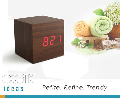 Mini Cube Redwood Skin Wooden Alarm Clock Red LED Display,  Time, Temperature, Sound Control