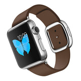 Genuine Leather Watch Band for Apple Watch 38mm, 40mm, 42mm, 44mm. Loop Strap,Stainless Magnetic Buckle-Brown