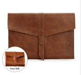 "Genuine Leather Landscape Envelope Sleeve for Tablets and Laptops, 11"", 12"", 13"", 15"". Fits to Surface Pro, HP Envy, Spectre, Pavilion, Asus Transformer, Zen Book, Dell Inspiron, Sony Vaio Duo...etc."