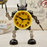 Movable Robot alarm desk clocks for children. Exquisite mechanical design, silent without tick sound.