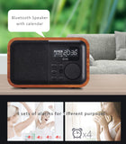 Wooden bluetooth MP3 Player + stereo speaker  with LCD display, calendar, FM alarm, 4 alarms, remote control...etc.