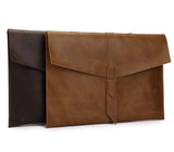 "Genuine Leather Envelope Sleeve for MacBook Air, Pro, Retina 11.6"",12"",13.3"",15.4"" - Landscape- Sleeve Bag + Pouch for cables and mouse"