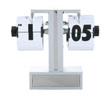 Auto Flip Desk Clock Retro Style, Stainless, Single Stand, Black and White Panels