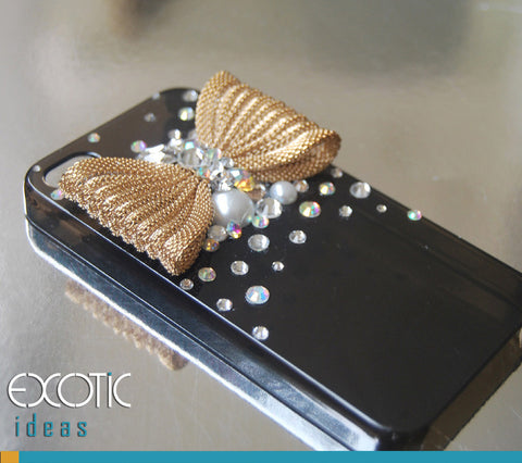 Fine Crystal Rhinestone 3D Apple iPhone 4 4S Skin Case Cover - Golden Ribbon with Crytal and Pearl  Smoke Case