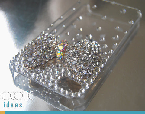 Fine Crystal Rhinestone 3D Apple iPhone 4 4S Skin Case Cover - Crystal Ribbon with Gold Plated Base