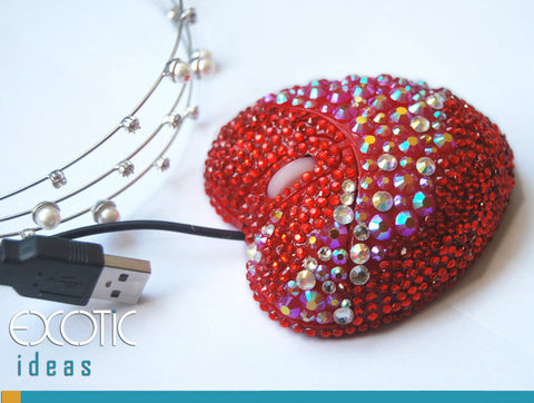 Fine Red Crystal Rhinestone Optical Computer Mouse, Packed with Fine Giftbox