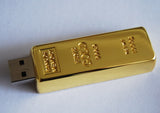8GB, USB Flash Memory Stick, Gold Bar, Bank of Memory