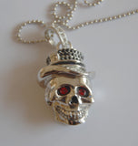 64GB USB Flash Memory Stick, Silver Skull with Red Crystal Eyes and Hat