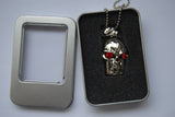 8GB USB Flash Memory Stick, Silver Skull with Red Crystal Eyes