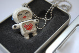 32GB USB Flash Memory Stick, Astronaut Robot with Crystal Set (Pearl White)