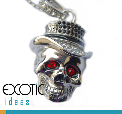 32GB USB Flash Memory Stick, Silver Skull with Red Crystal Eyes and Hat